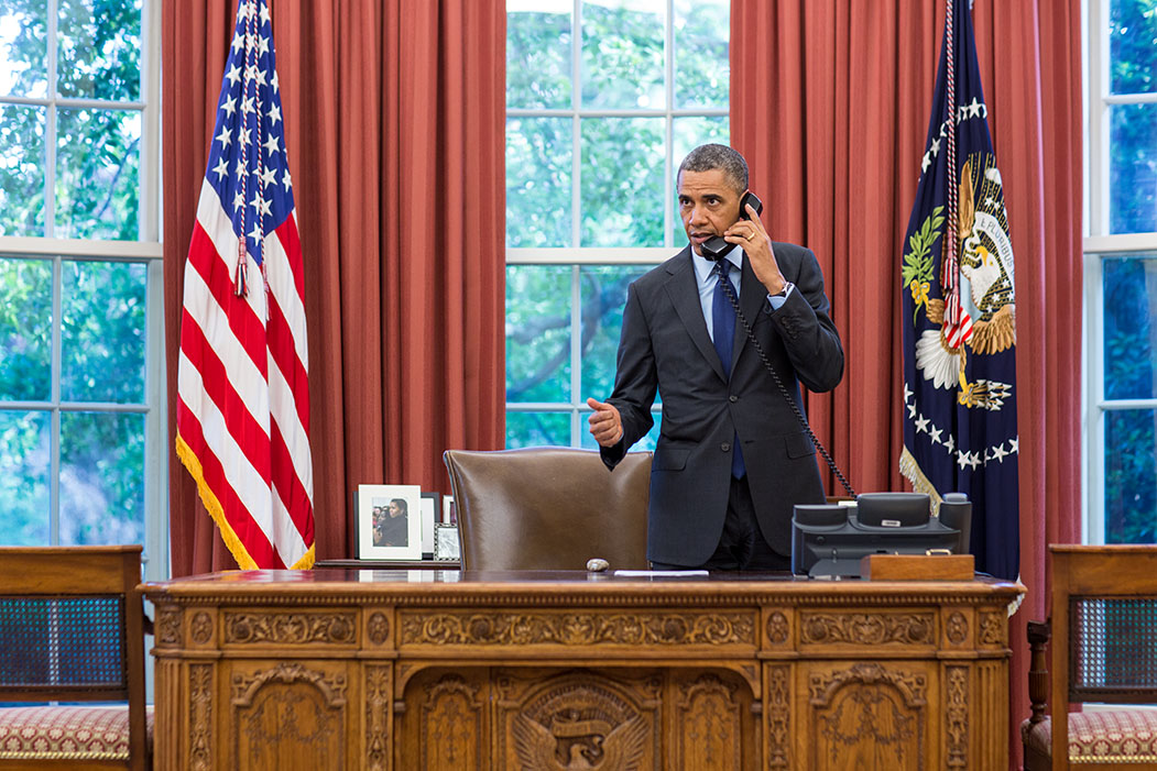 President Obama Talks On The Phone With Governor Fallin