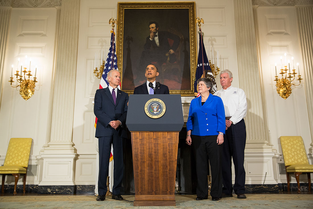 President Barack Obama delivers remarks on the ongoing response to the devastating tornadoes and severe weather