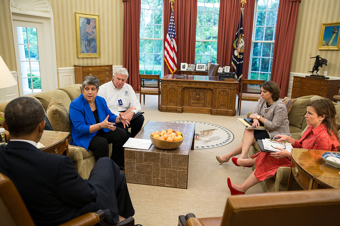 President Barack Obama receives a briefing on the ongoing response to the devastating tornadoes and severe weather that impacted Oklahoma