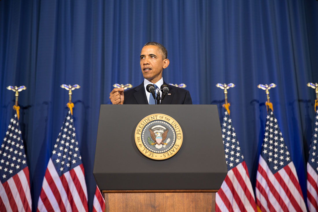 President Barack Obama delivers a speech at the National Defense University