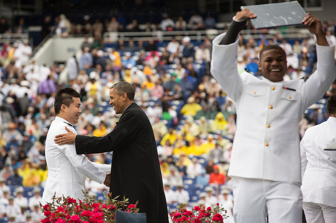 President Barack Obama greets graduates during the U.S. Naval Academy commencement