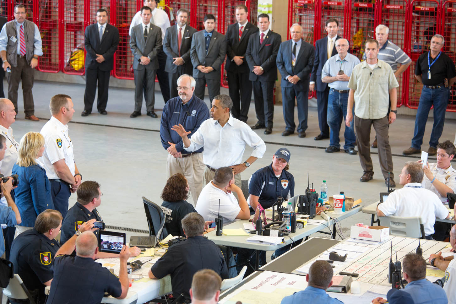 President Barack Obama talks with first responders in Moore