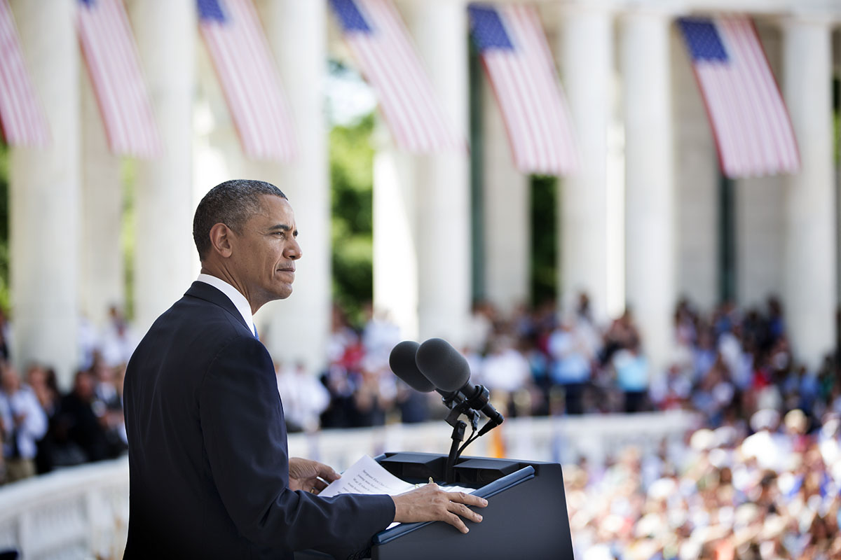 President Barack Obama delivers remarks during a Memorial Day ceremony at the Arlington National Cemetery Memorial Amphitheater in Arlington, Virginia, May 26, 2014.
