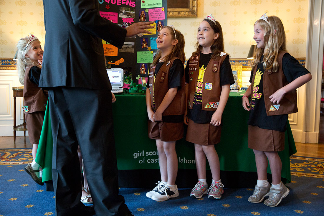 President Barack Obama talks with Brownies from Girl Scout Troop 2612 from Tulsa, Okla., during the 2014 White House Science Fair
