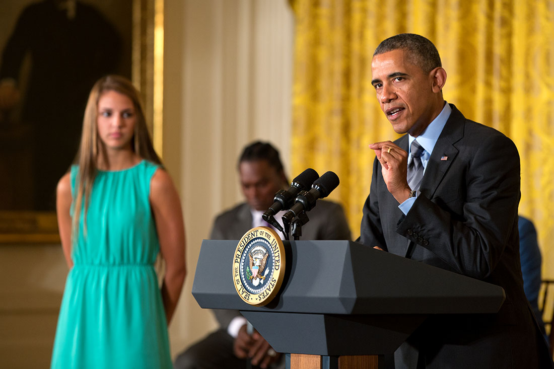 President Barack Obama, with introducer Tori Belluci, delivers opening remarks at the White House Healthy Kids & Safe Sports Concussion Summit