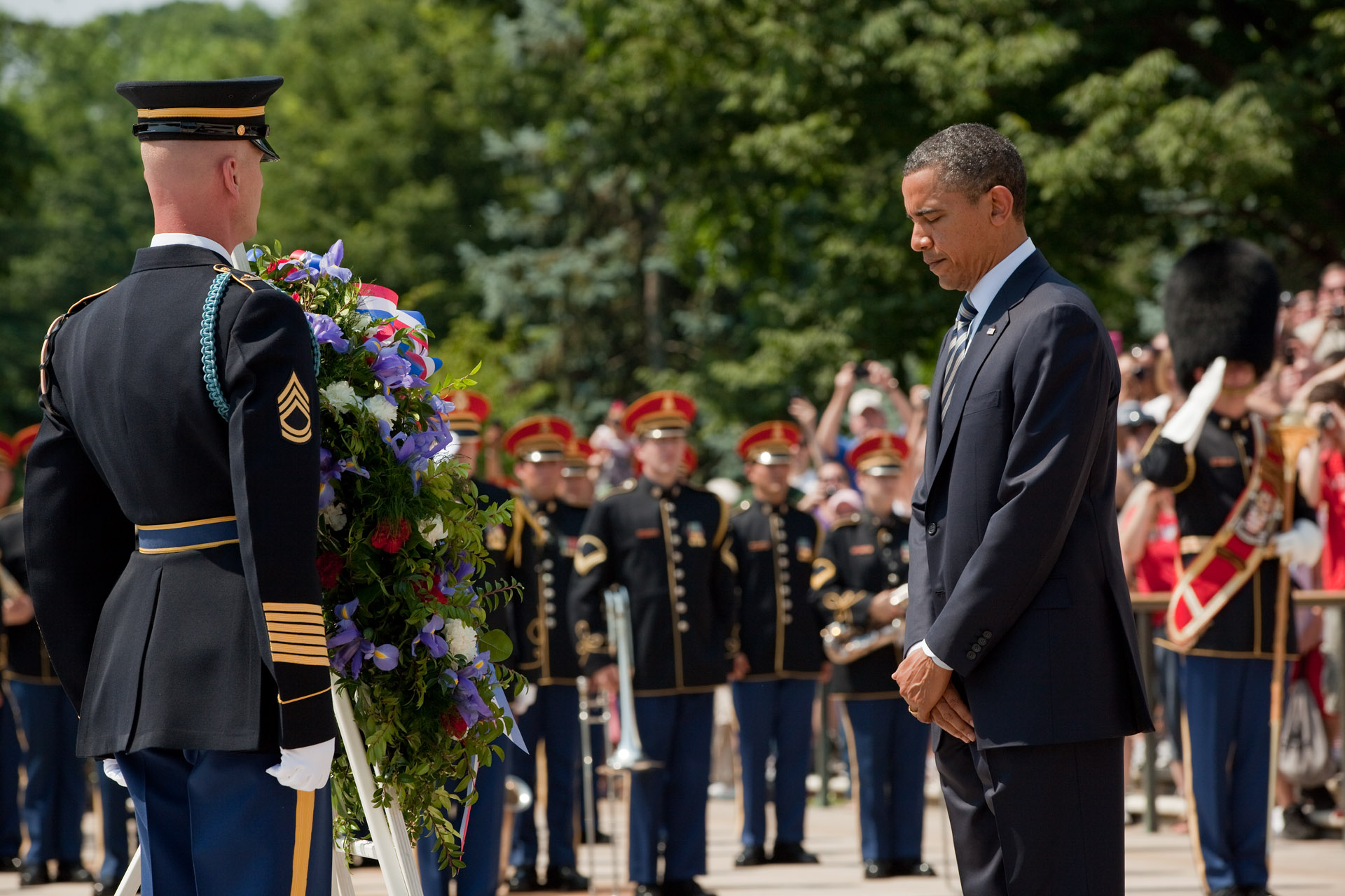President Barack Obama Places a Wreath at the Tomb of the Unknown Soldier