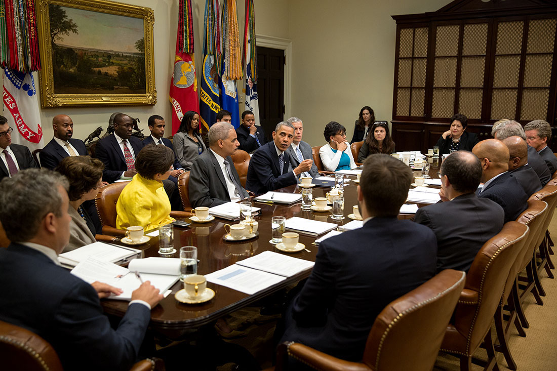 President Barack Obama holds a My Brother's Keeper Task Force Cabinet meeting in the Roosevelt Room of the White House, May 20, 2014.