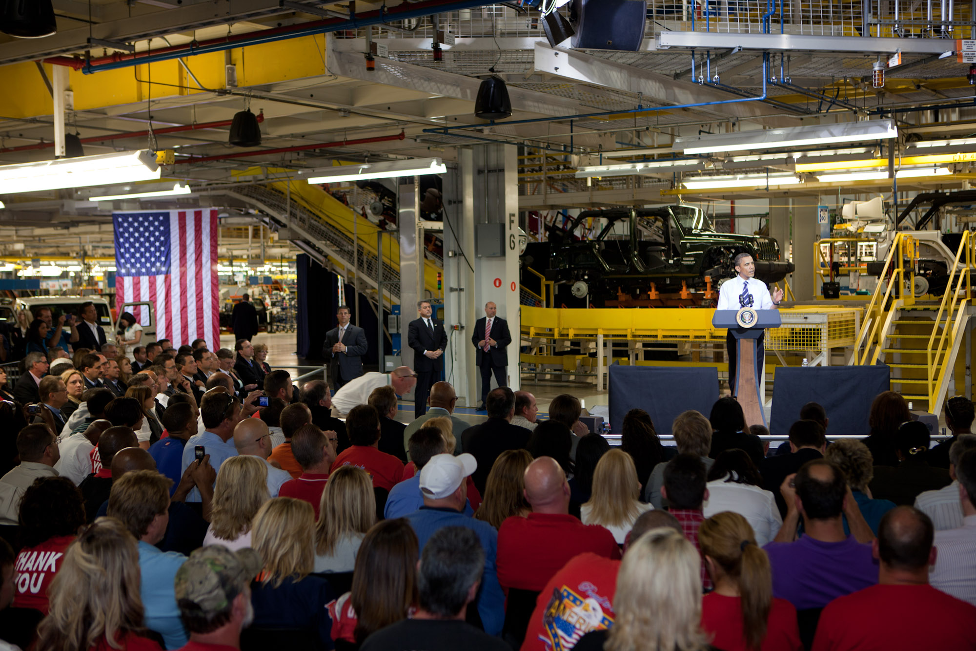 President Barack Obama delivers remarks to plant workers at Chrysler Group's Toledo Supplier Park