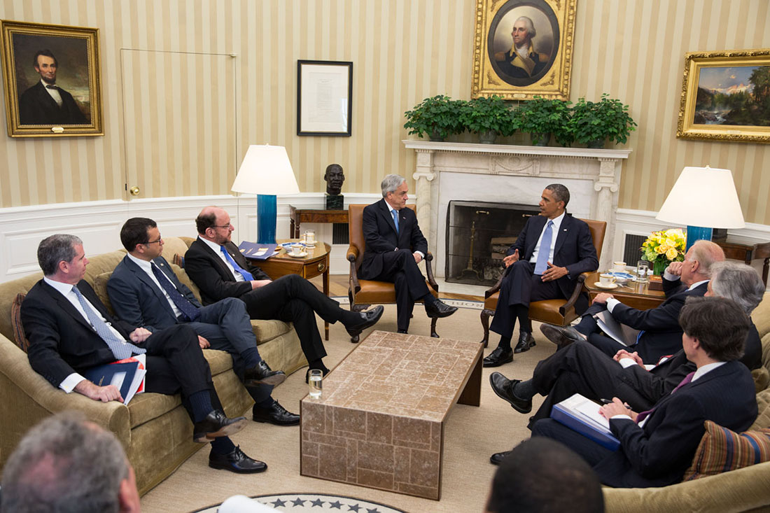 President Barack Obama holds a bilateral meeting with President Sebastián Piñera of Chile