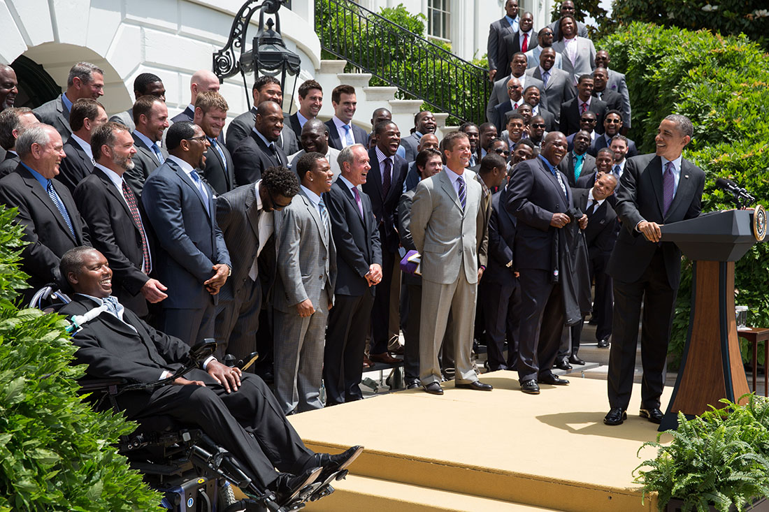 President Barack Obama welcomes Coach John Harbaugh and the Super Bowl Champion Baltimore Ravens to the White House