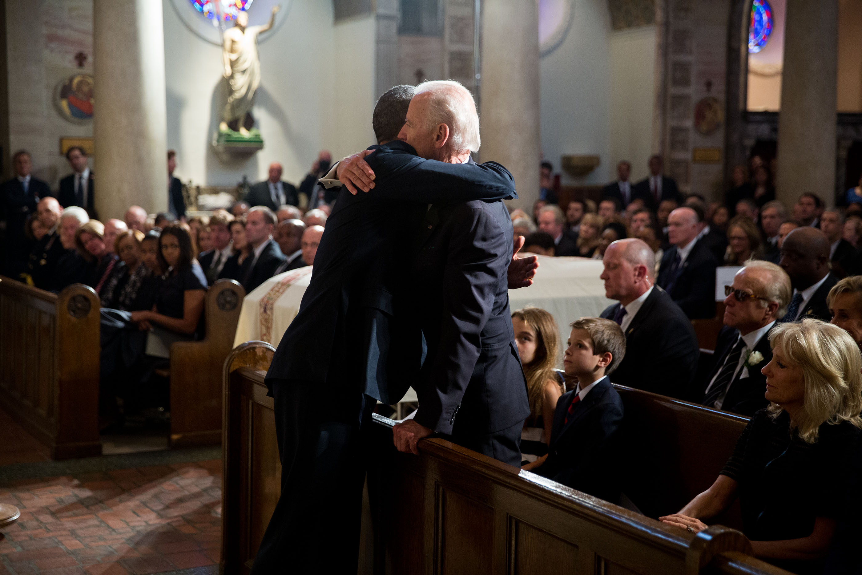 President Obama and Vice President Biden Embrace at Beau Biden's Funeral