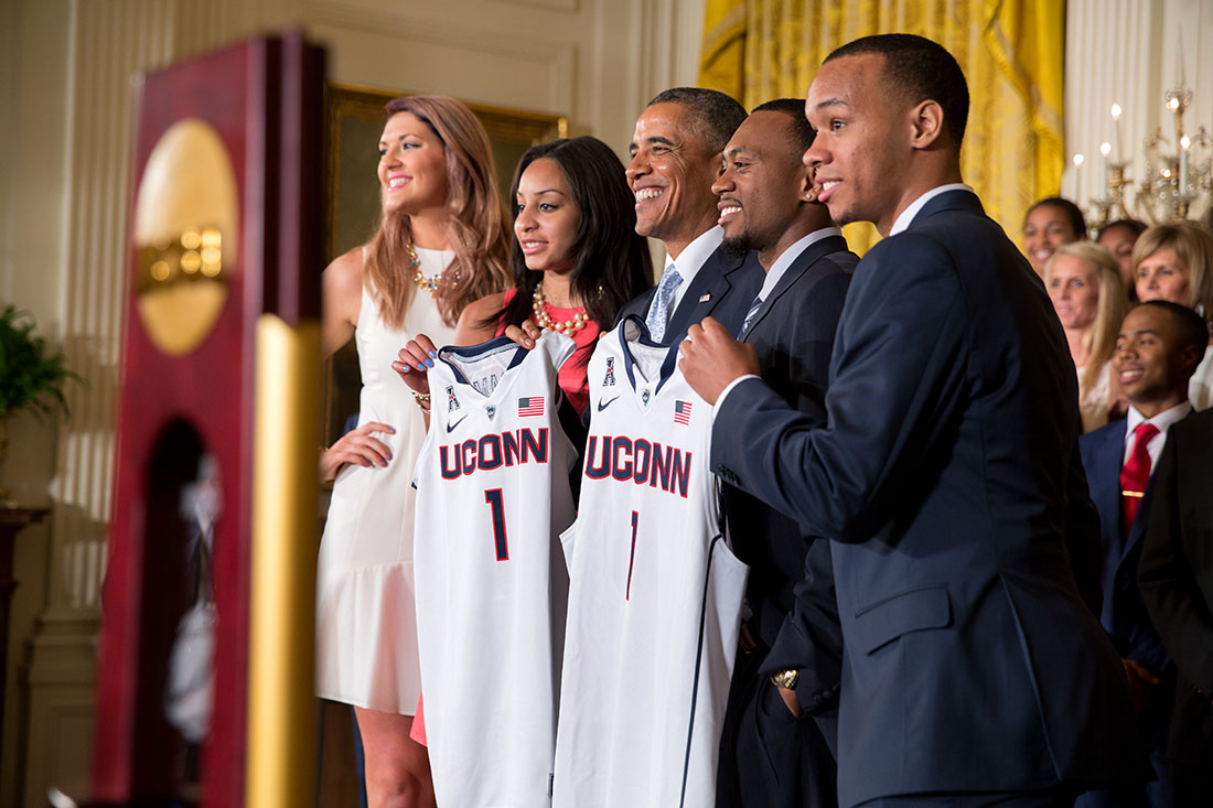 President Barack Obama welcomes the NCAA Champion University of Connecticut (UConn) Huskies men's and women's basketball teams