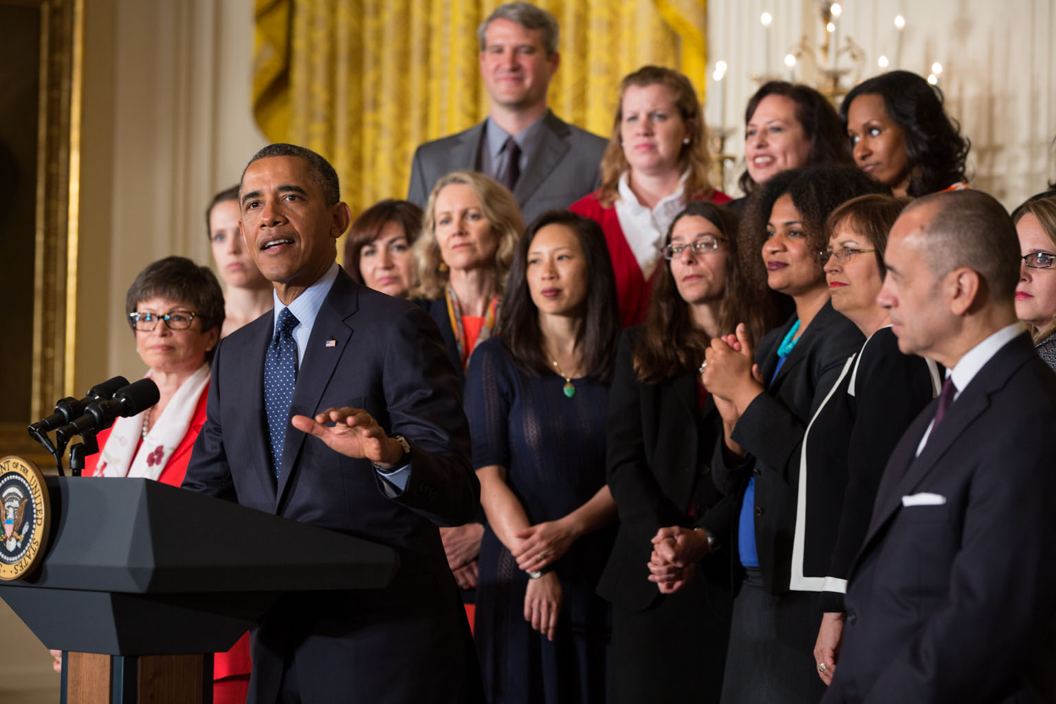 President Barack Obama delivers remarks commemorating the 50th anniversary of the Equal Pay Act