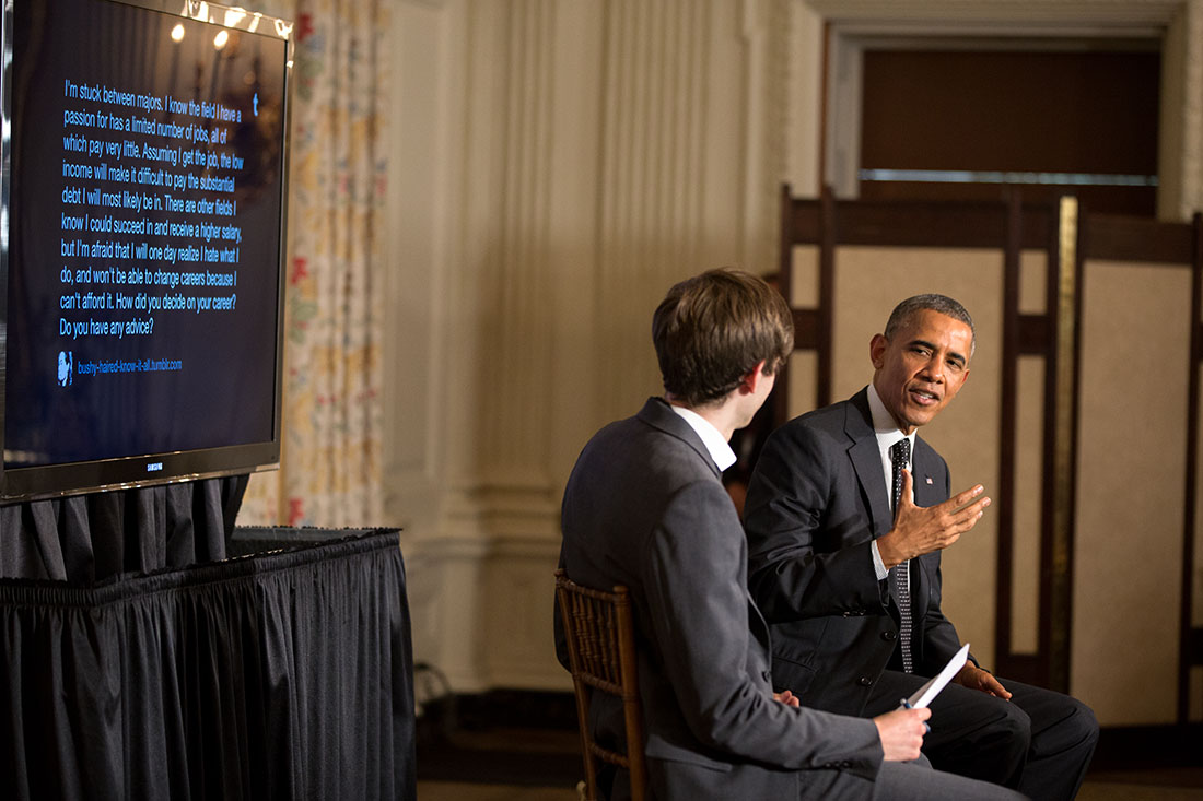 President Barack Obama participates in a Tumblr event with David Karp