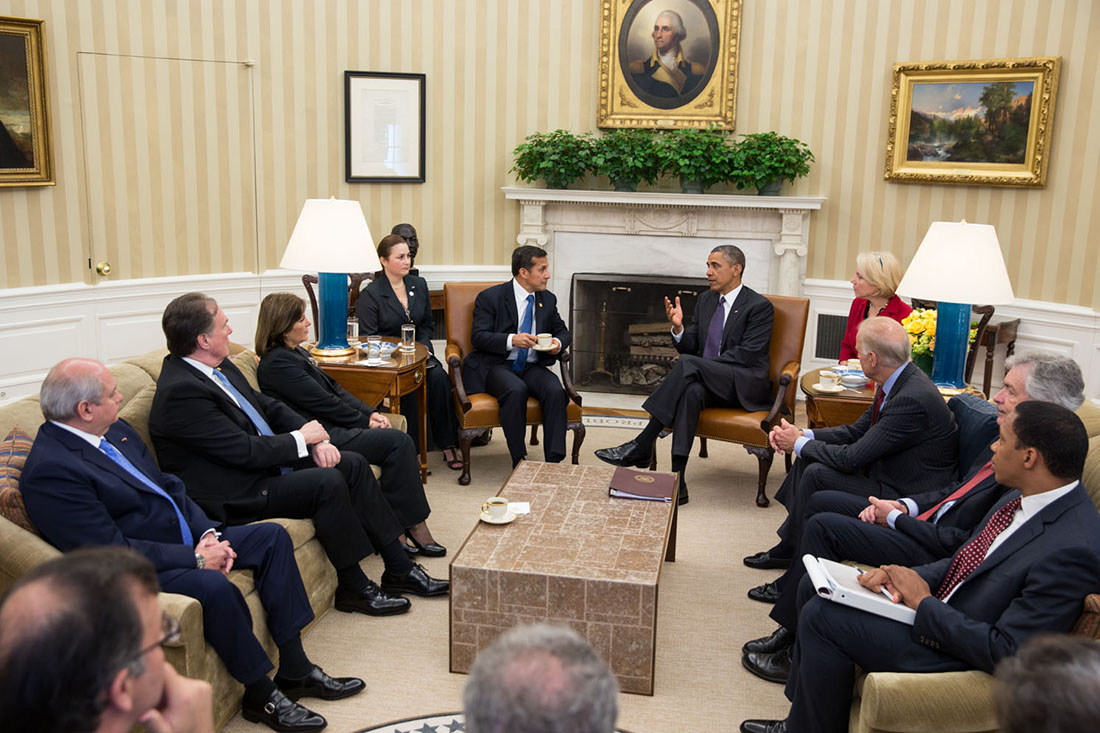 President Barack Obama participates in a bilateral meeting with President Ollanta Humala of Peru