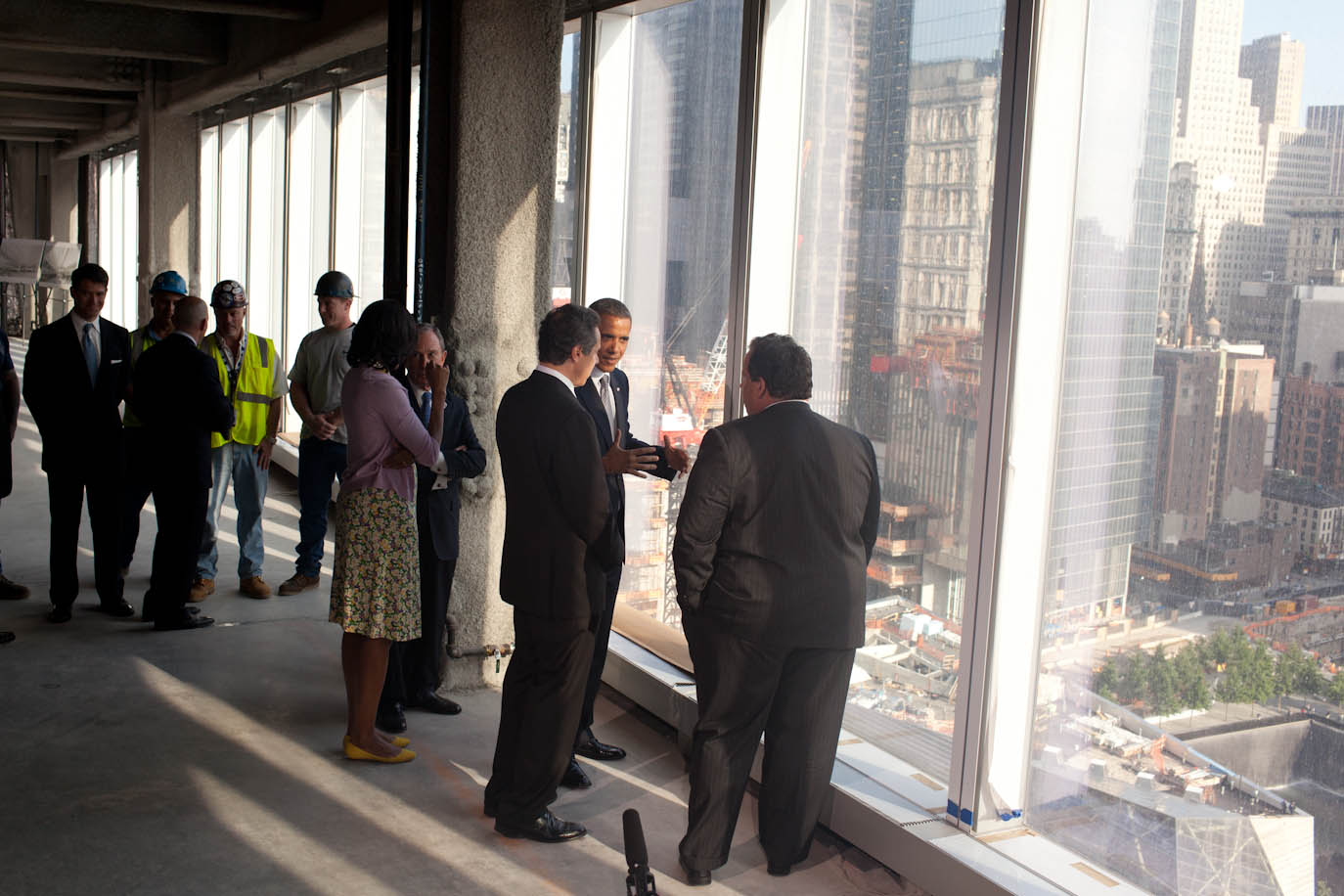 President Barack Obama and First Lady Michelle Obama tour the One World Trade Center site
