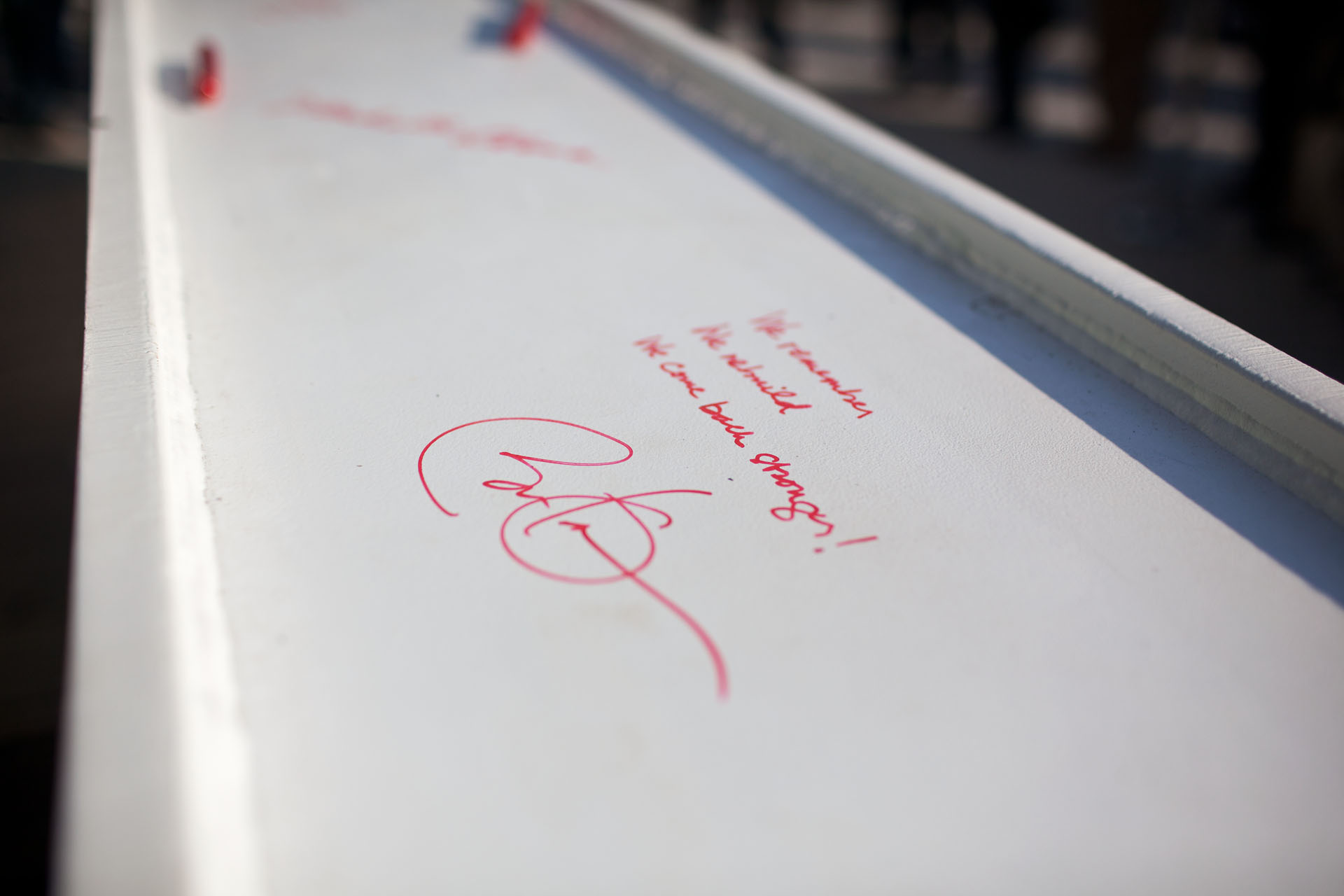 Message signed by President Barack Obama on a beam at One World Trade Center