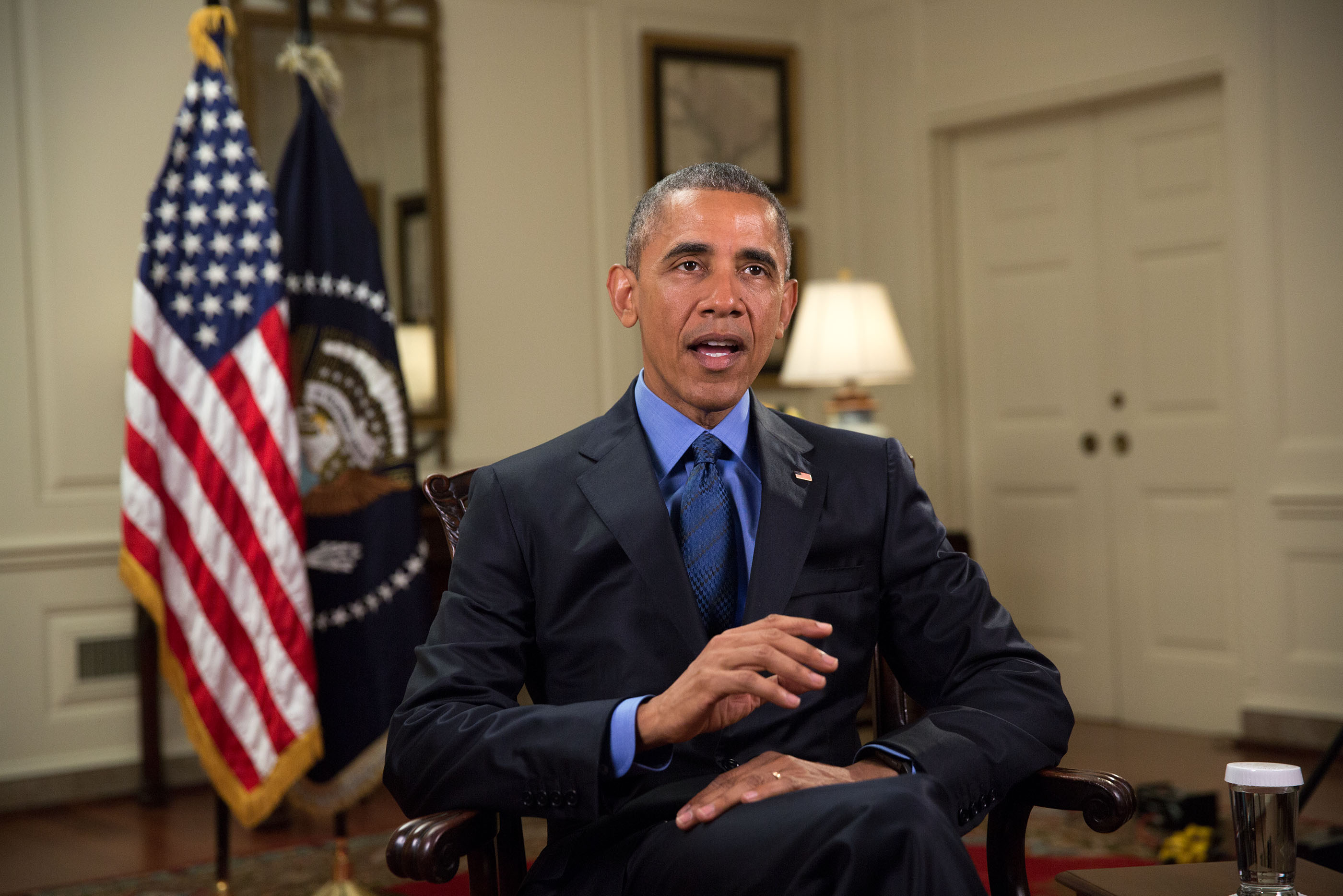 President Barack Obama tapes the Weekly Address in the Map Room of the White House, June 18, 2015