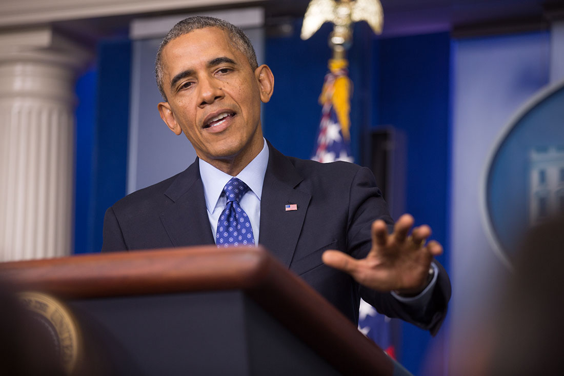 President Barack Obama delivers a statement on Iraq and answers questions from the media in the James S. Brady Press Briefing Room at the White House, June 19, 2014.