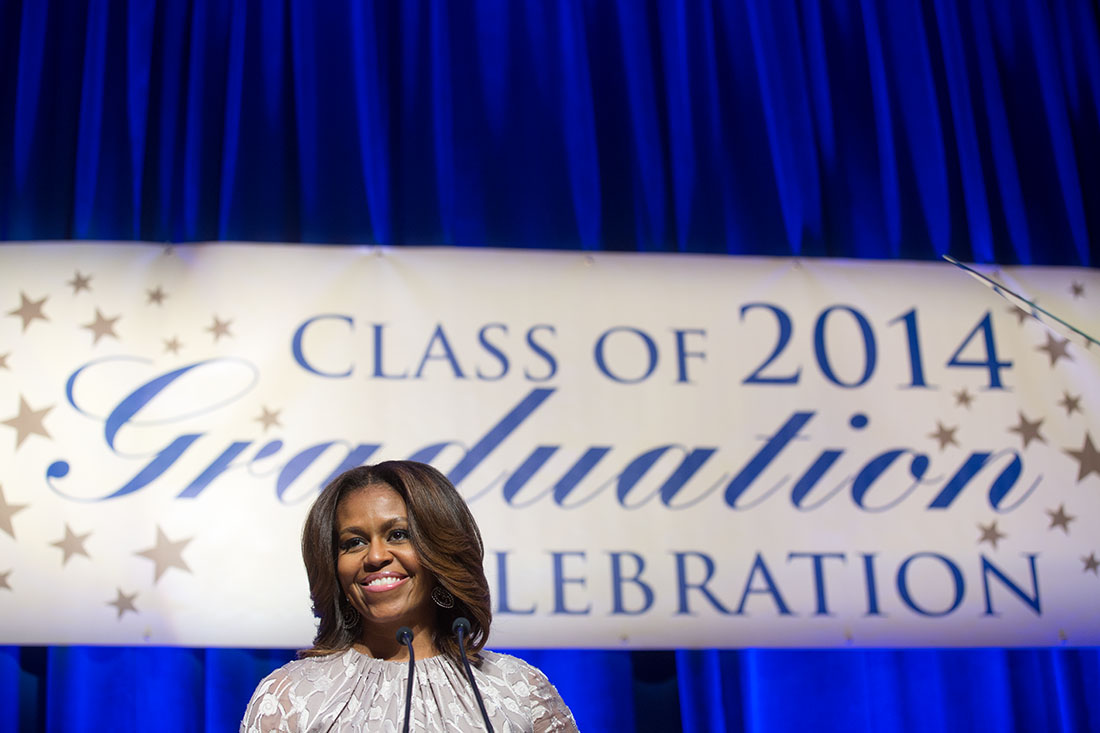 First Lady Michelle Obama delivers remarks during DC College Access Program graduation celebration