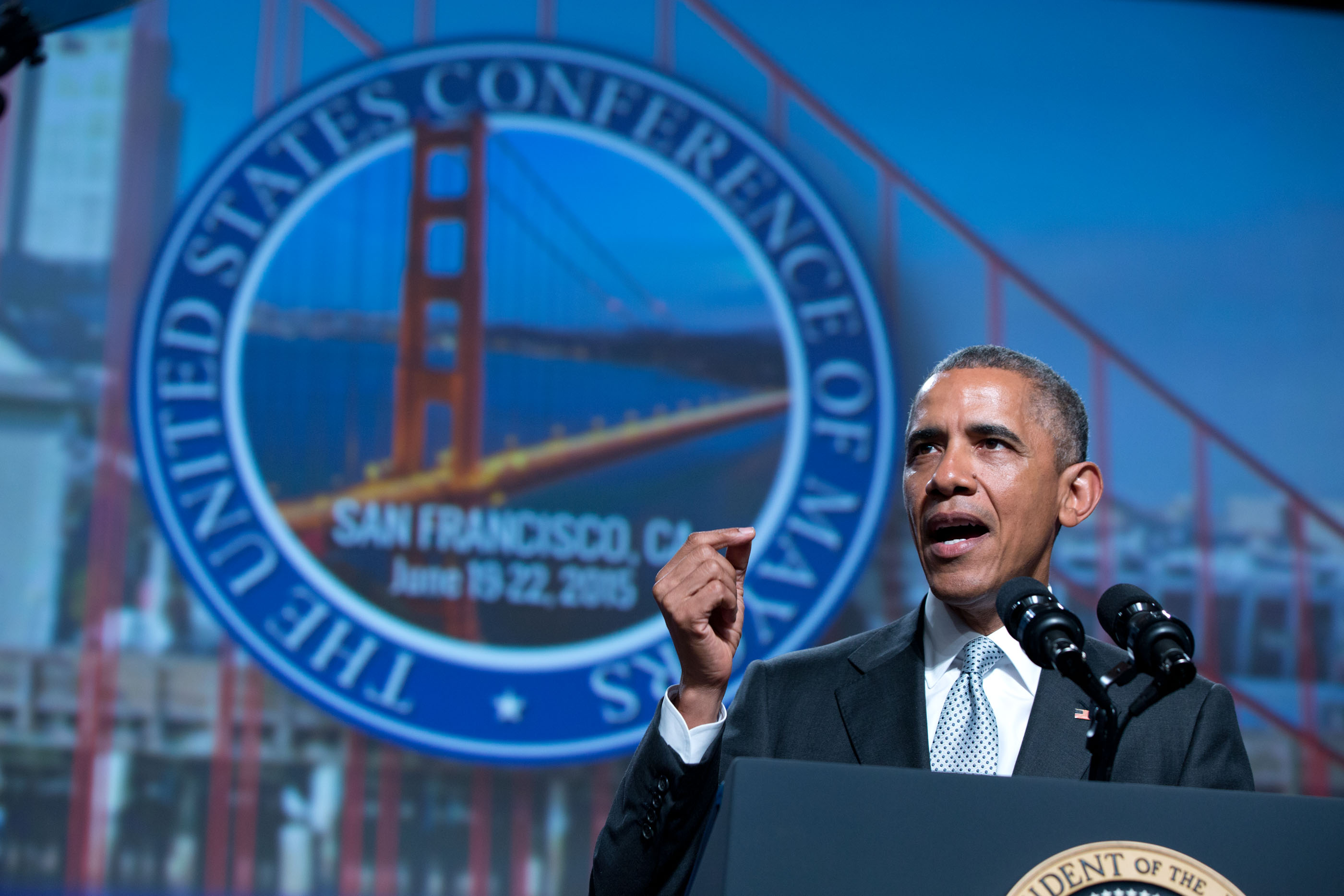 President Obama makes remarks at the U.S. Conference of Mayors, 2015