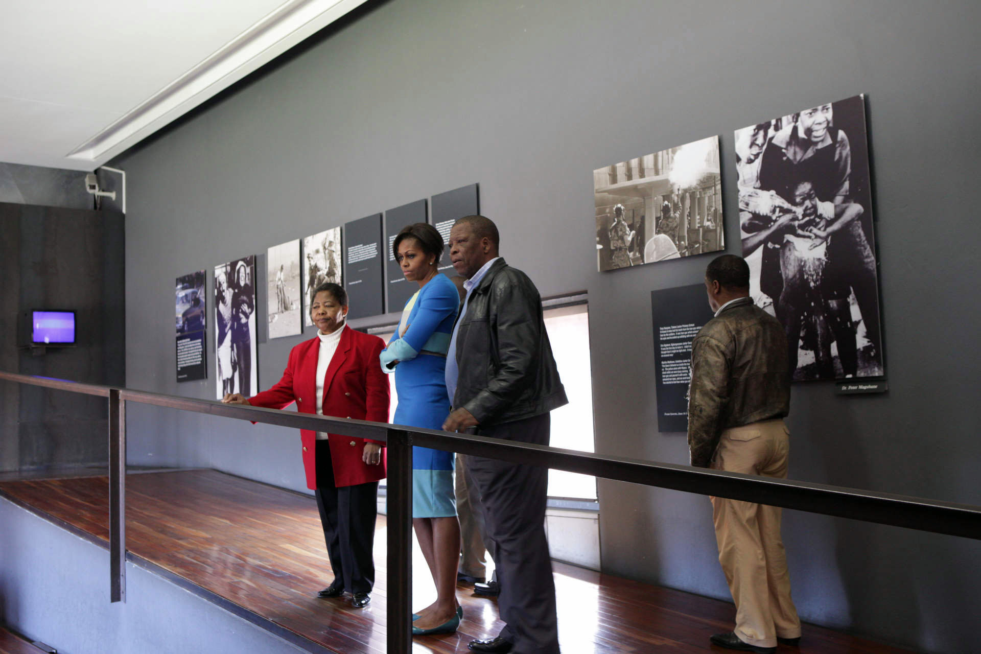 First Lady Michelle Obama tours the Hector Pieterson Memorial Museum