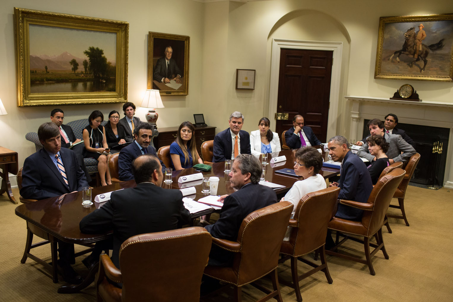 President Barack Obama meets with business owners and entrepreneurs to discuss immigration reform