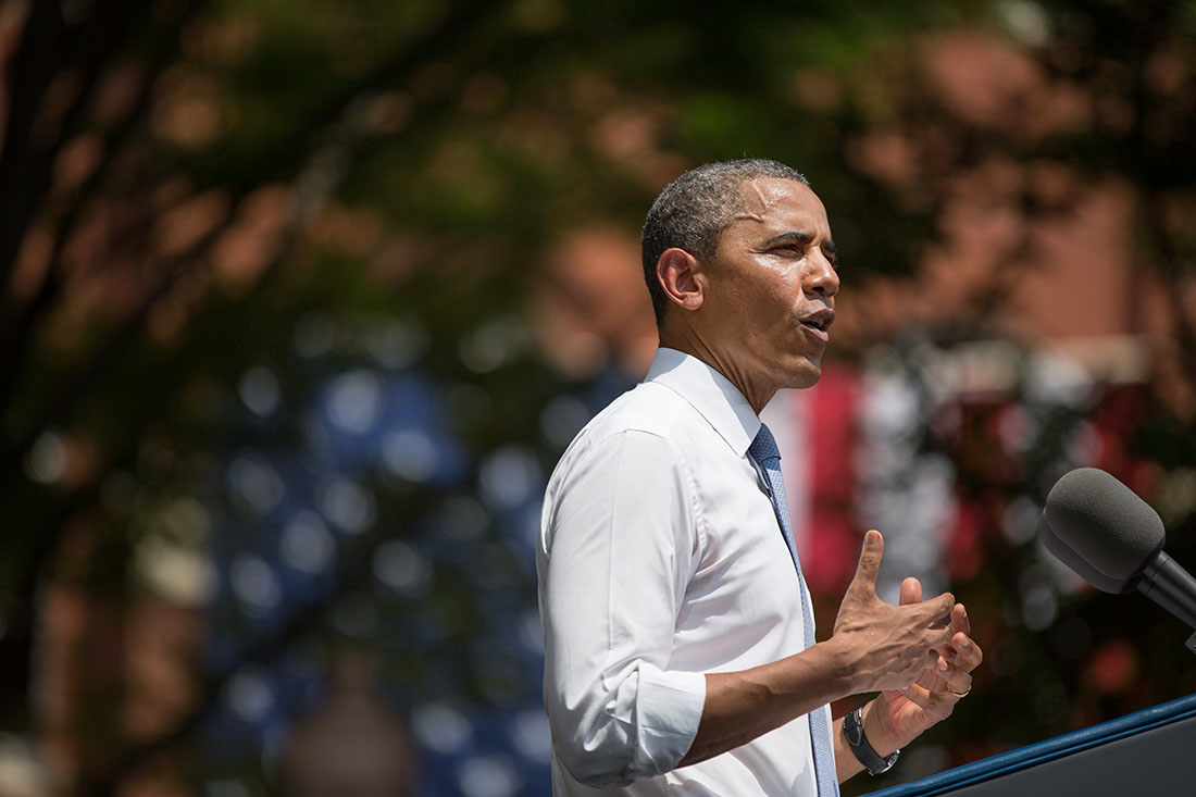 President Barack Obama delivers remarks on climate change, at Georgetown University