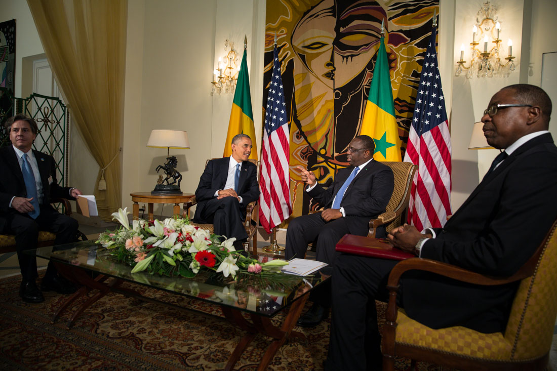 President Barack Obama and President Macky Sall of Senegal hold a bilateral meeting at the Presidential Palace in Dakar, Senegal