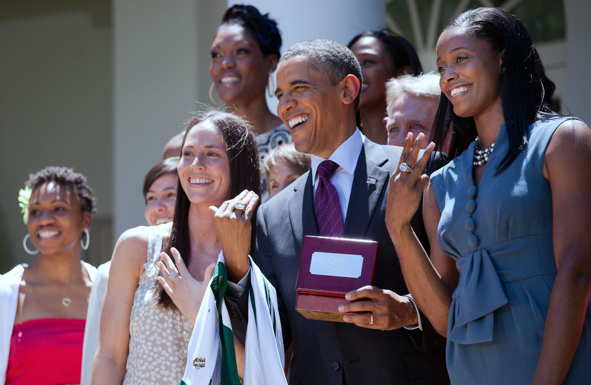 President Barack Obama with the Seattle Storm