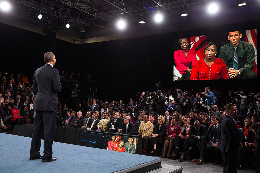 President Barack Obama answers questions at a Young African Leaders Initiative Town Hall