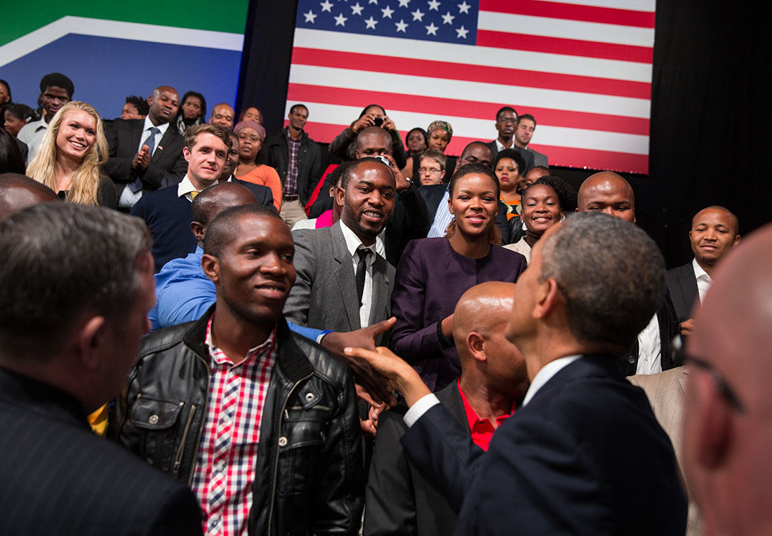 President Barack Obama greets audience members during a Young African Leaders Initiative Town Hall