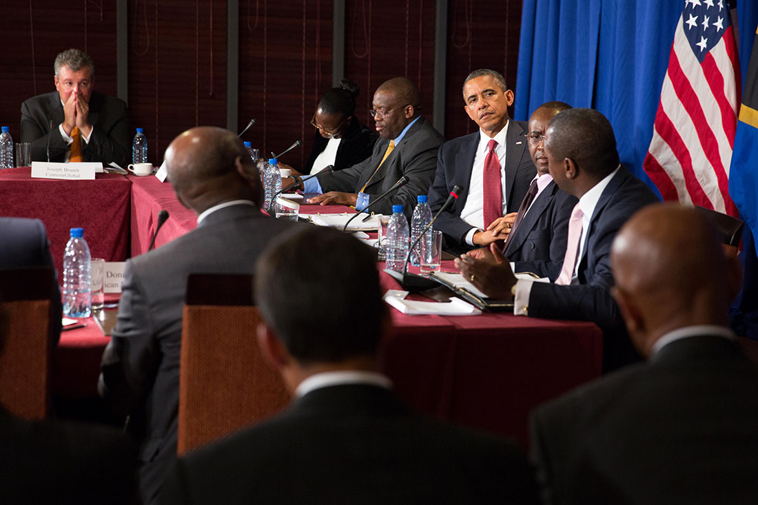 President Barack Obama participates in a CEO roundtable at the Hyatt Kilimanjaro