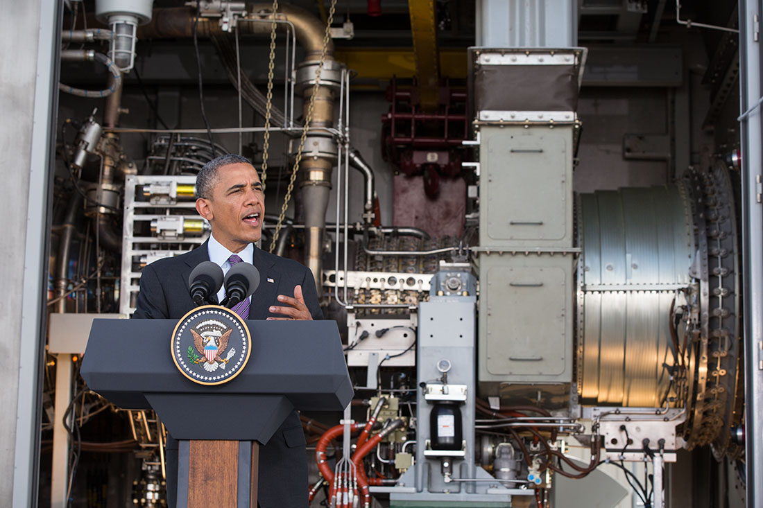 President Barack Obama delivers remarks at the Ubongo Power Plant in Dar es Salaam