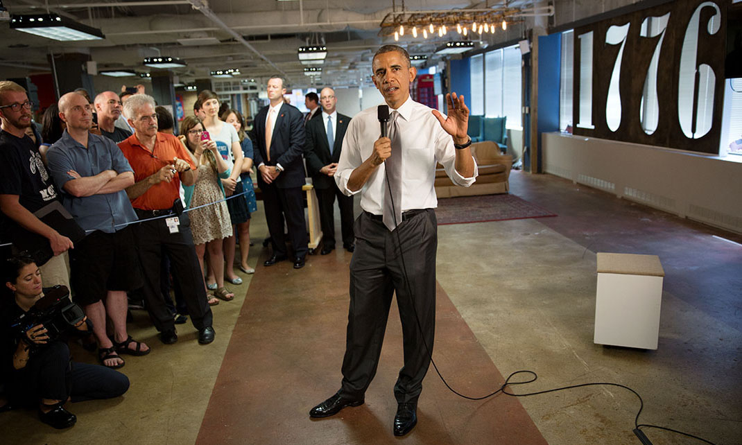 President Barack Obama delivers remarks on the economy at 1776, a tech startup hub in Washington, D.C.