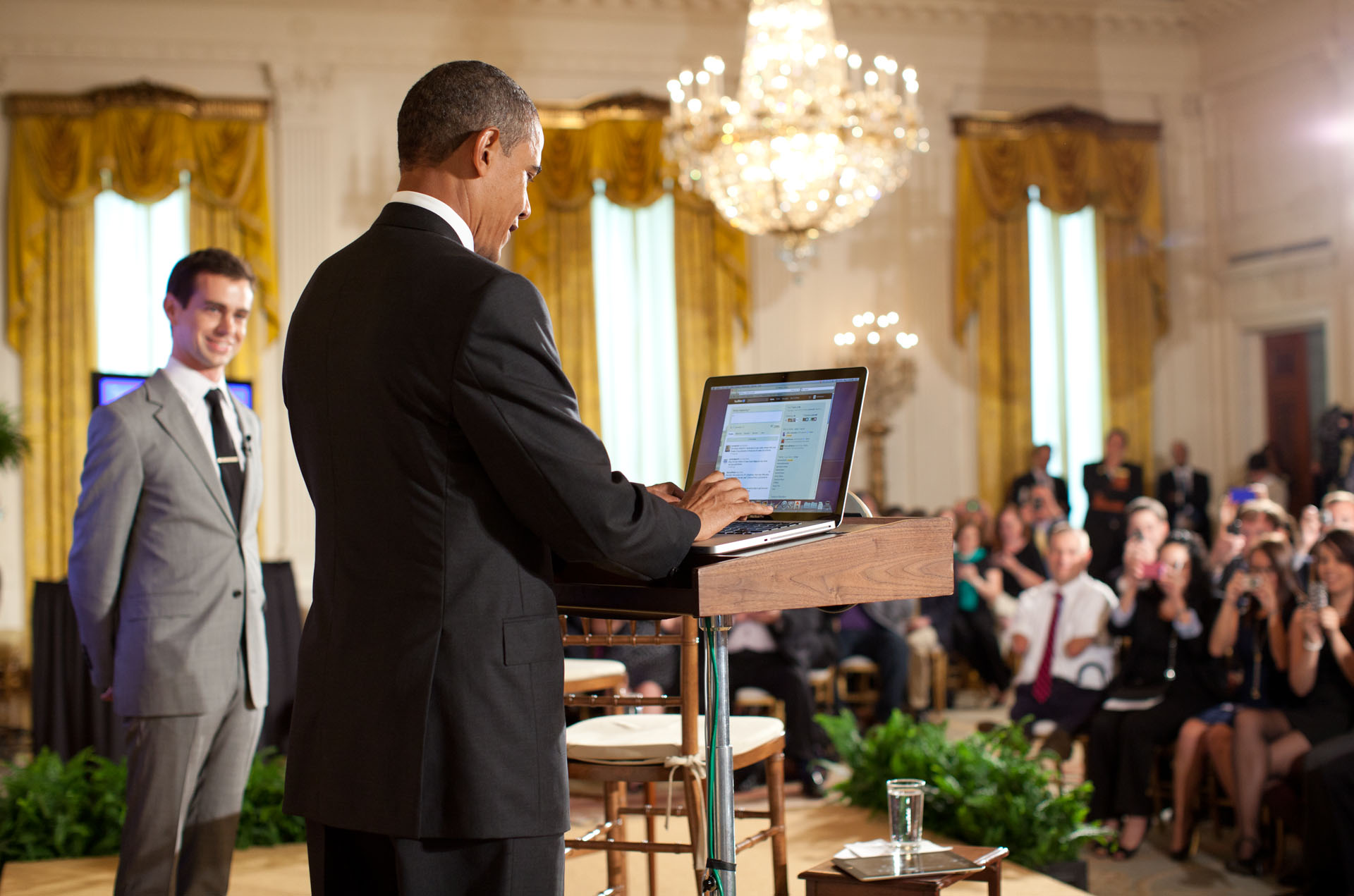 President Obama Tweets a Question During the Twitter Town Hall