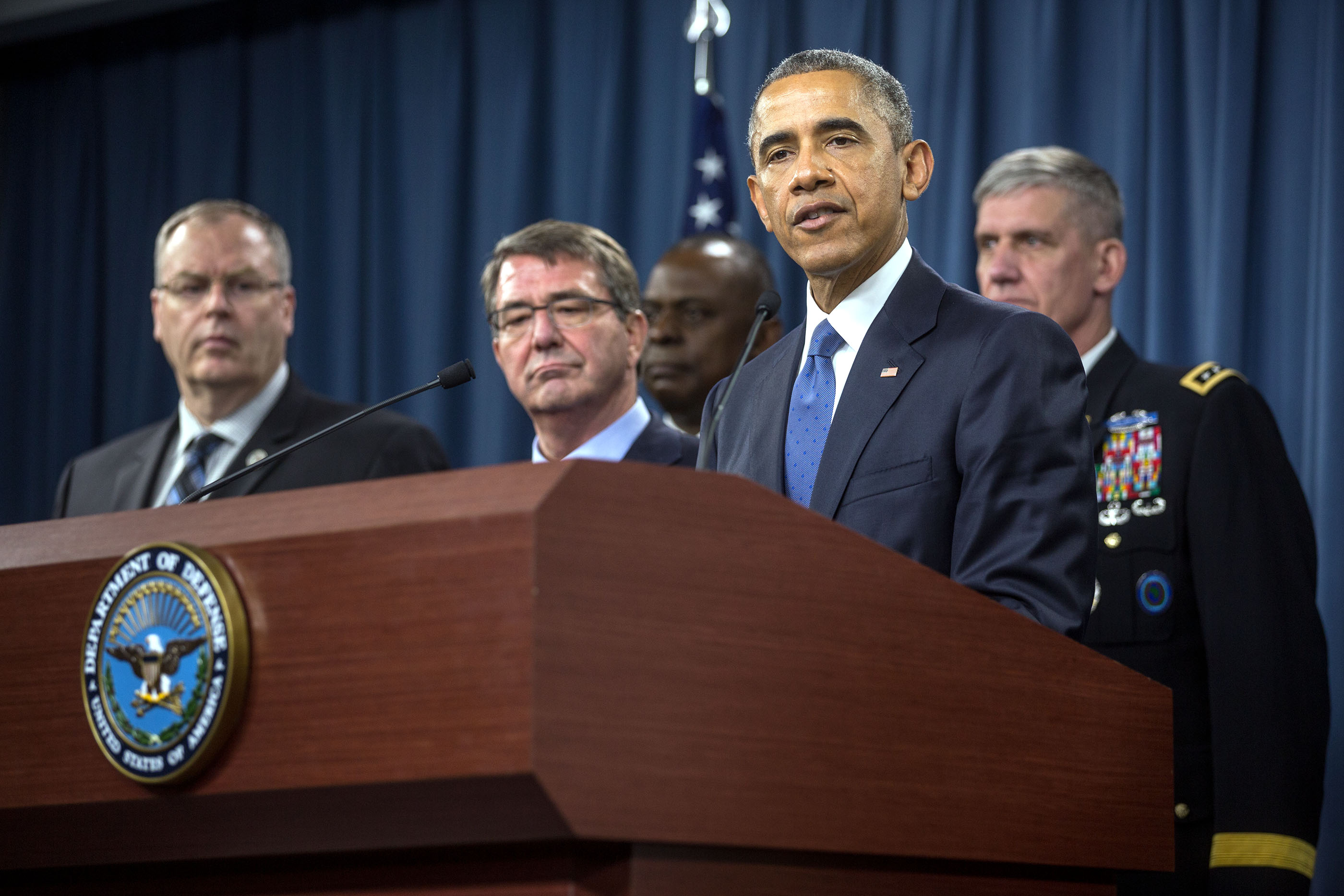 President Obama delivers a statement following a meeting about the campaign against ISIL