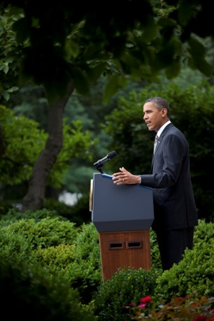 President gives jobs statement in Rose Garden