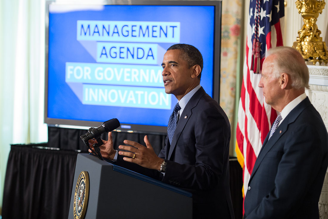 President Barack Obama, with Vice President Joe Biden, delivers a statement on management agenda