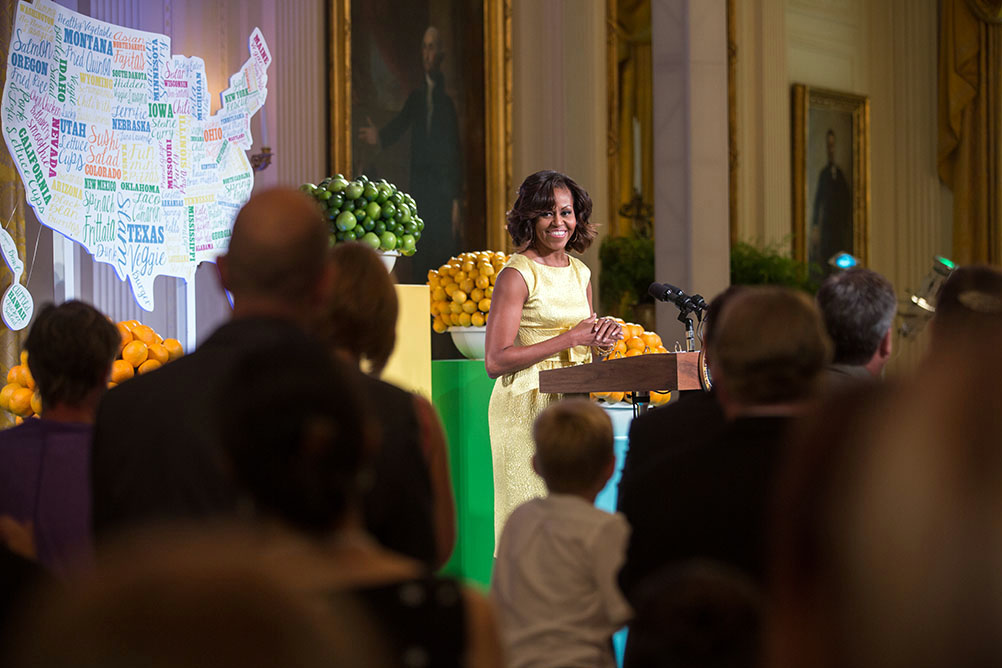 First Lady Michelle Obama delivers remarks during the Kids' State Dinner in the East Room of the White House