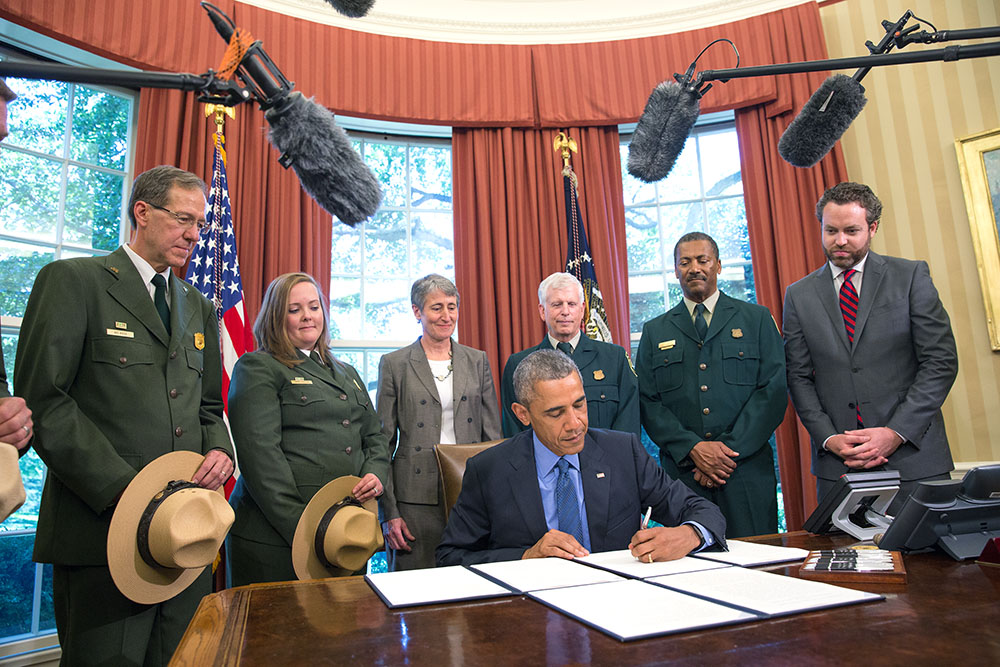 President Obama signs National Monument designations in the Oval Office, July 10, 2015