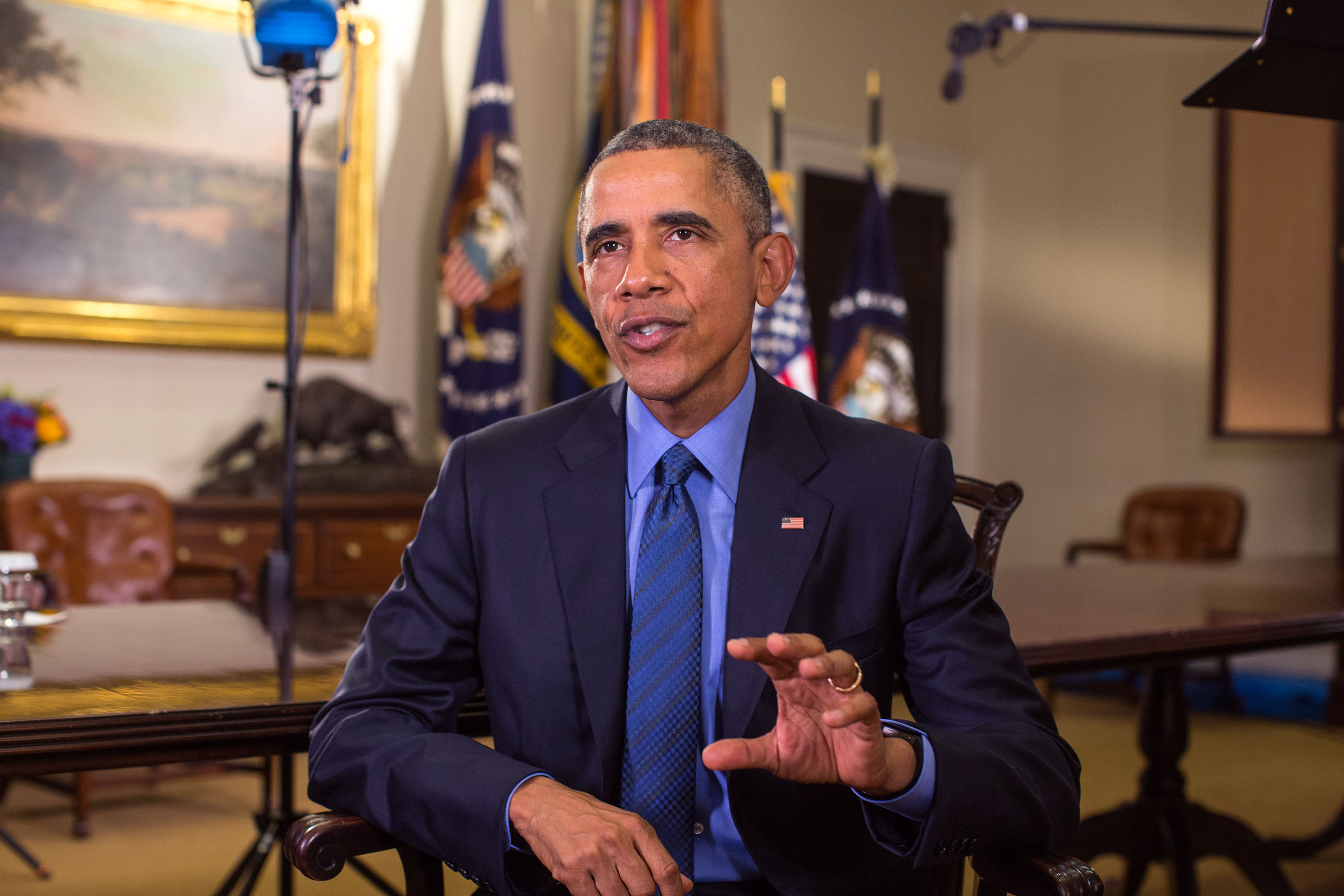 President Barack Obama tapes the Weekly Address in the Roosevelt Room of the White House, July 10, 2015
