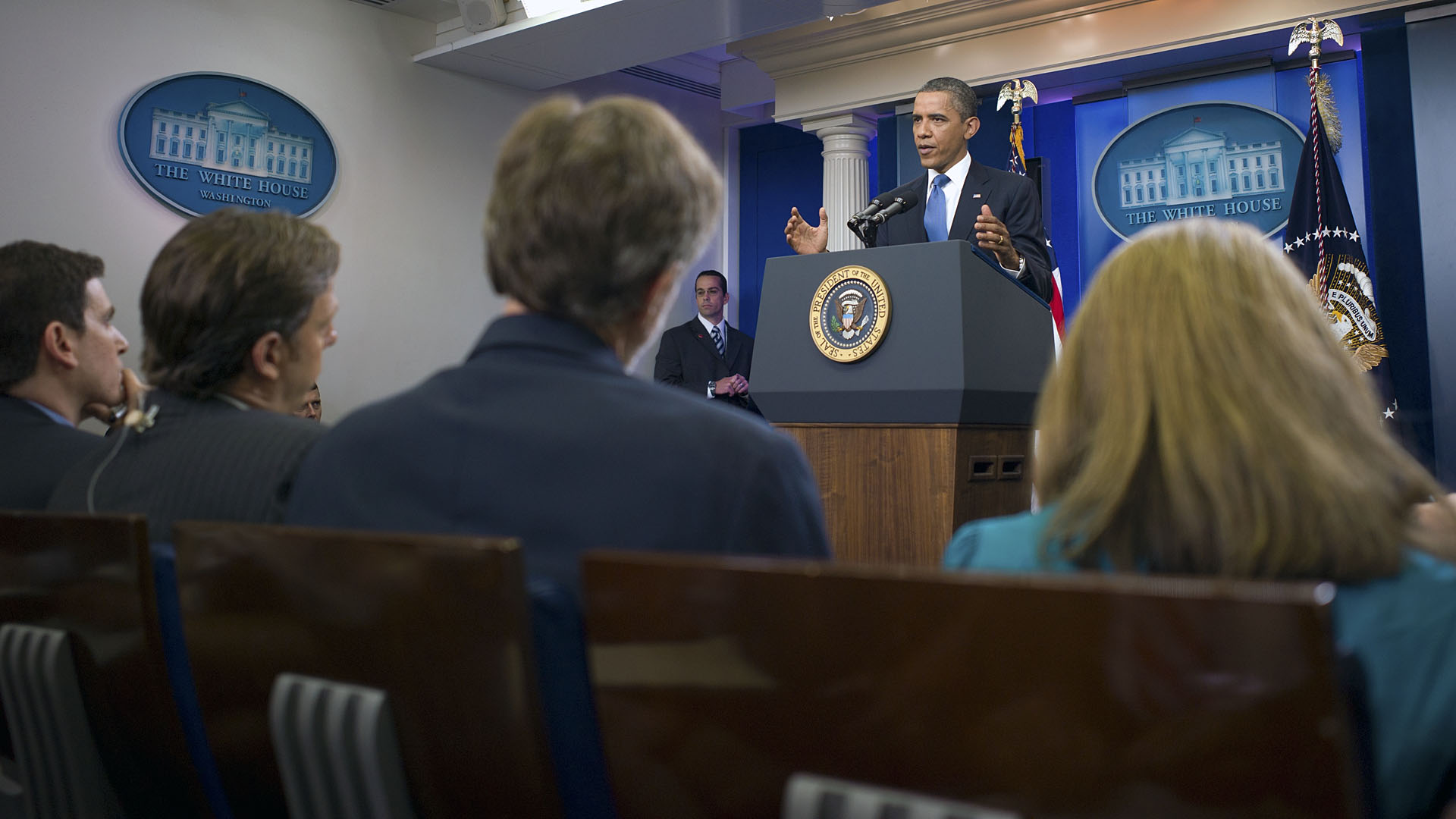 President Barack Obama responds to a question during a news conference in the James S. Brady Press Briefing Room
