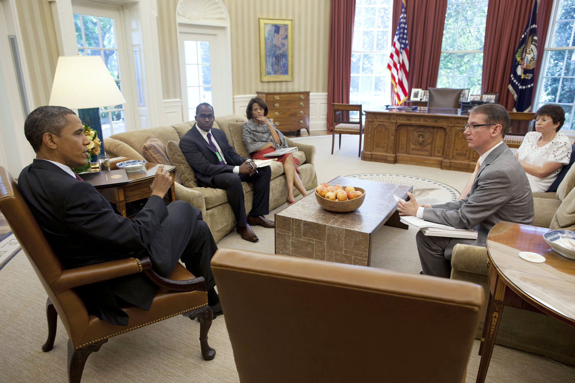 President Barack Obama holds meeting on AIDS policy with with members of the Domestic Policy Council