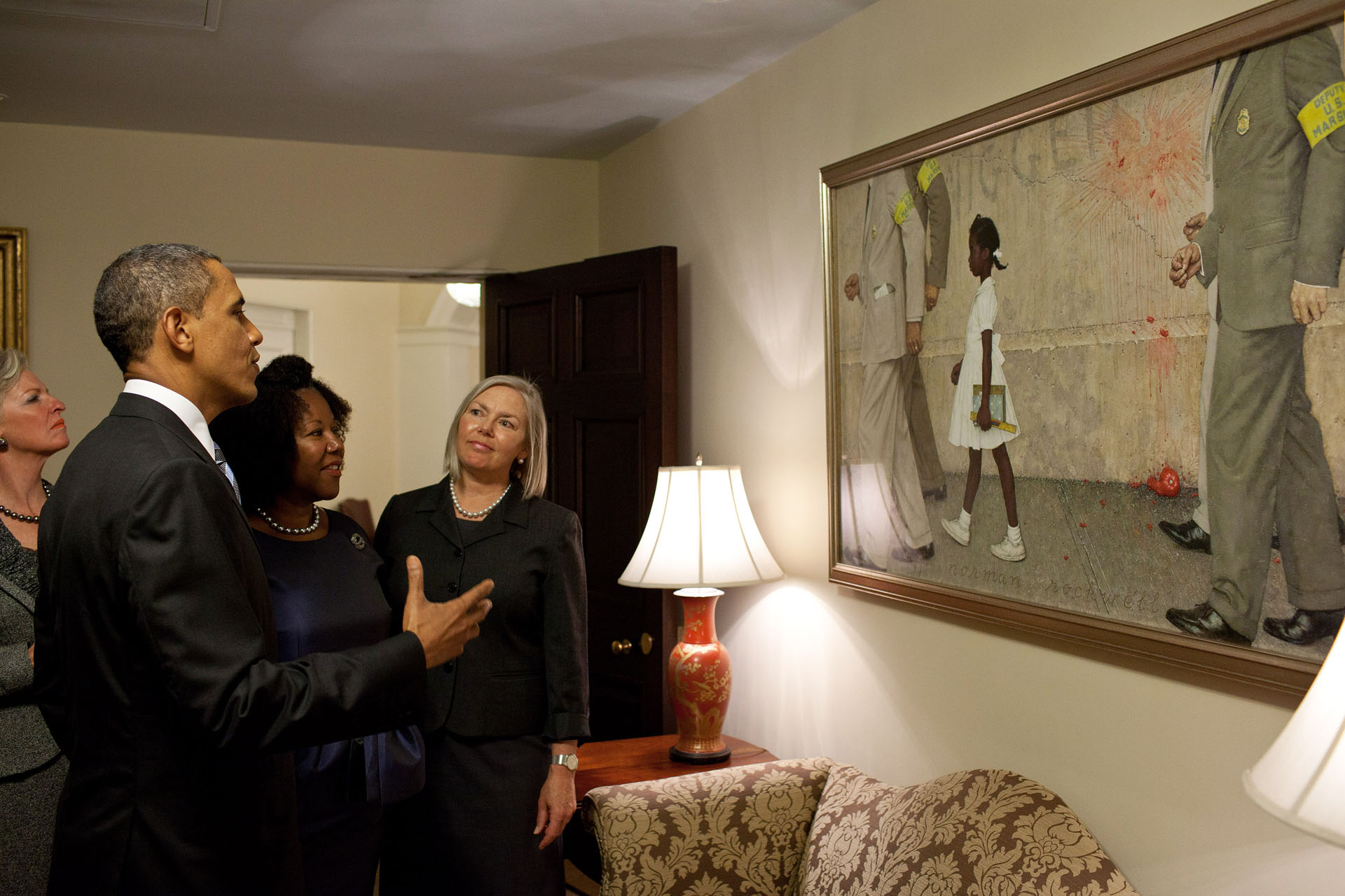 oval office paintings. president obama with civil rights icon ruby bridges oval office paintings c