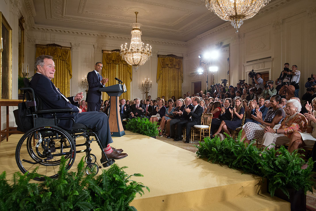 President Barack Obama, with former President George H. W. Bush, delivers remarks before they present the 5,000th Daily Point of Light Award