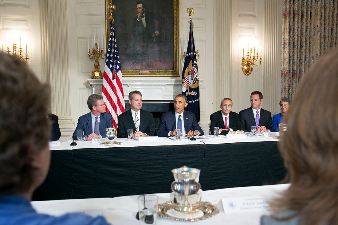 President Barack Obama drops by a meeting of the Task Force on Climate Preparedness and Resilience