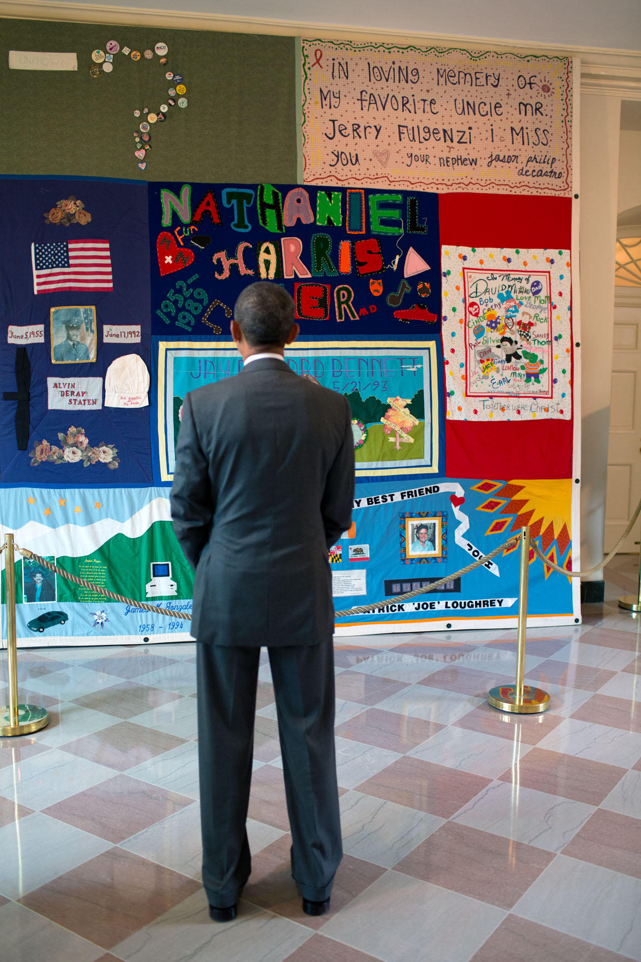 President Obama Views AIDS Quilt in East Wing of the White House July 18, 2012
