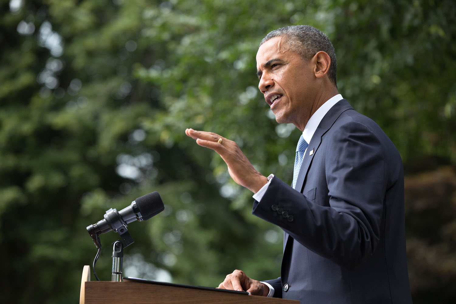 President Barack Obama delivers a statement on the situation in Ukraine, on the South Lawn of the White House, July 21, 2014.