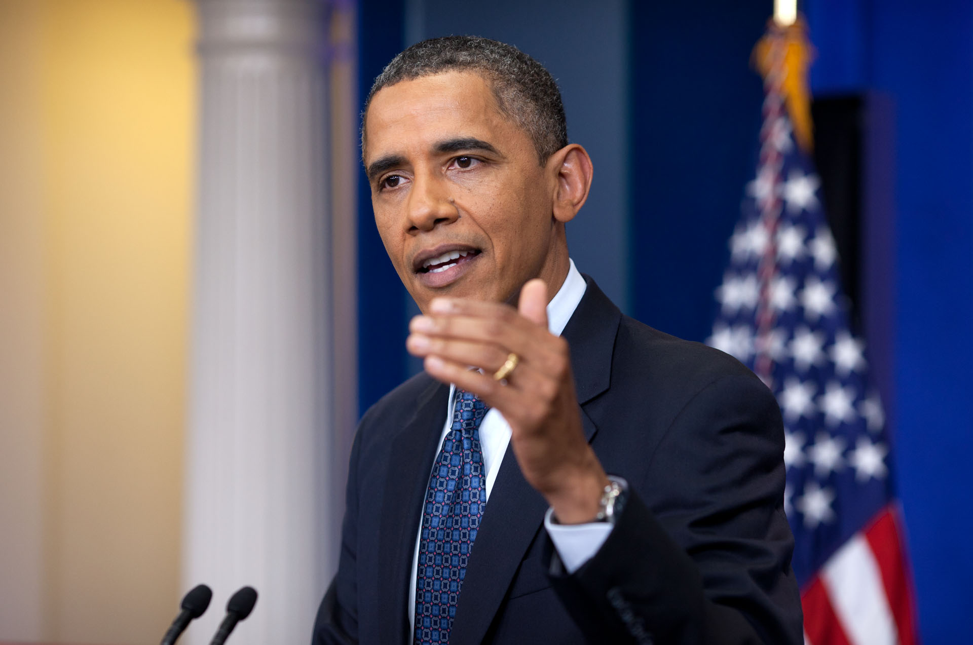 President Barack Obama makes a Statement to the Press